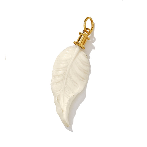 Medium Hand Carved Golden Autumn Leaf in Recycled Bone