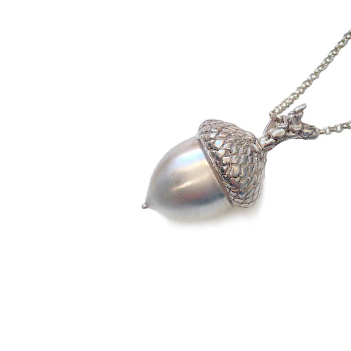 Large Silver Acorn Necklace