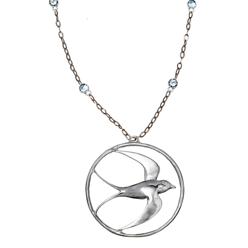 Blue Topaz Swallow Pendant