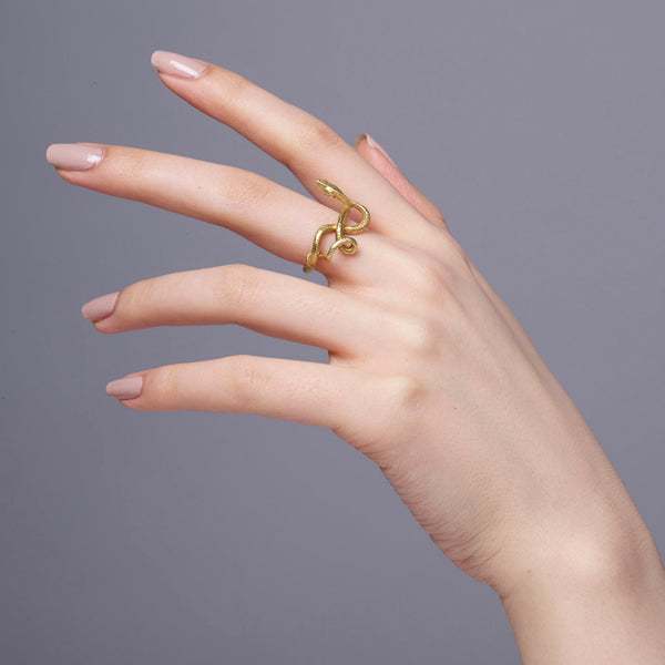 Gold Wadjet Twisted Snake Ring