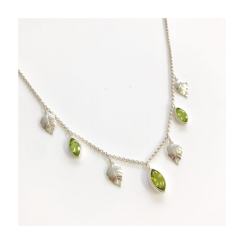 Peridot summer leaf layering Necklace