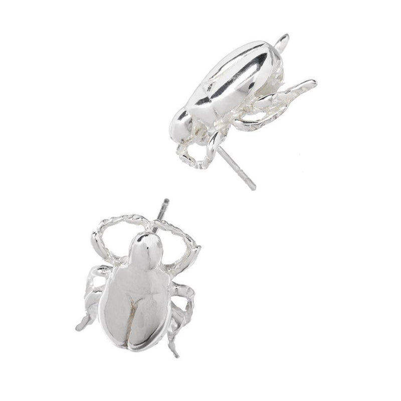 Silver Scarab Stud Earrings