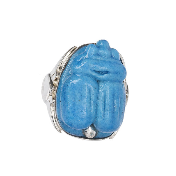 Turquoise Scarab Faience Ring
