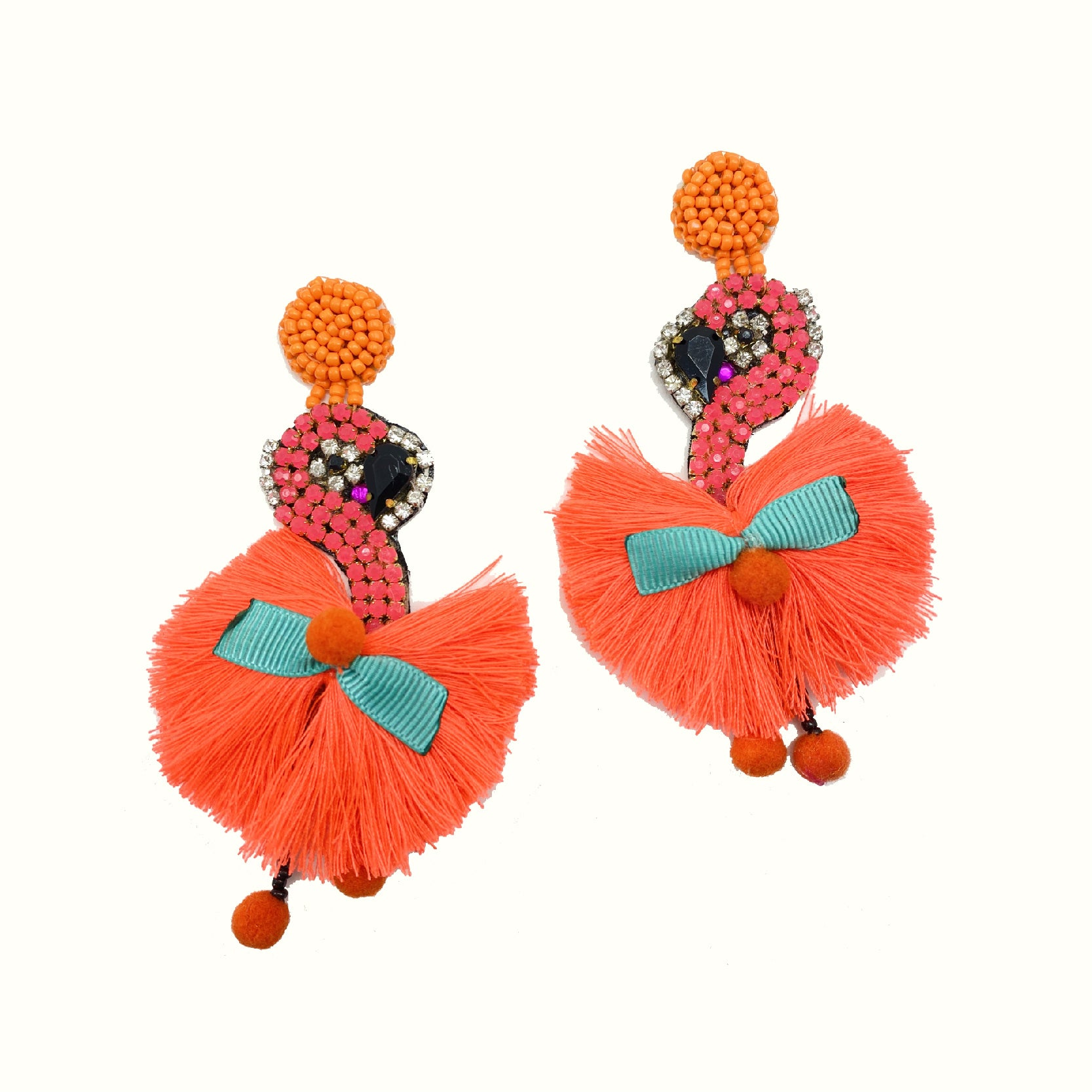 Flamingo Hot Orange | Handcrafted Earrings