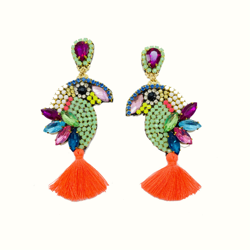 Parrots Neon Orange | Handcrafted Earrings