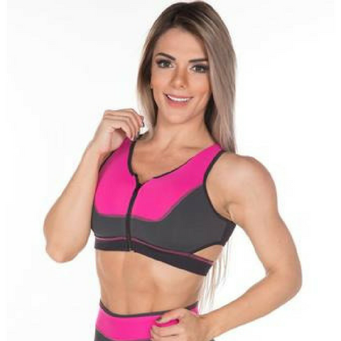 Gym Rocks Women's Pink Blossom Zip Bra