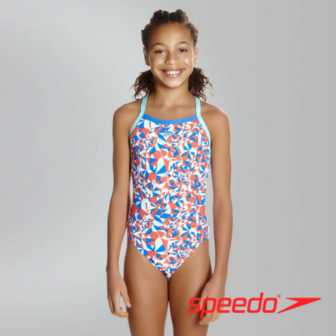 Speedo Girl's Stellar Fire Thinstrap Crossback Swimsuit