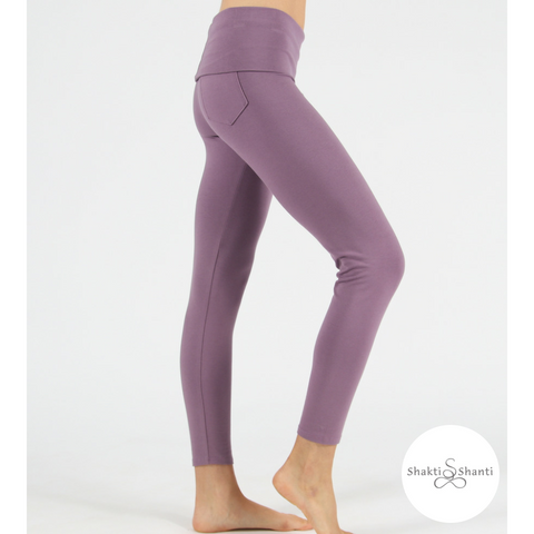 Shakti Shanti Yogawear -  Wide Band Leggings Regular Length (Aubergine)