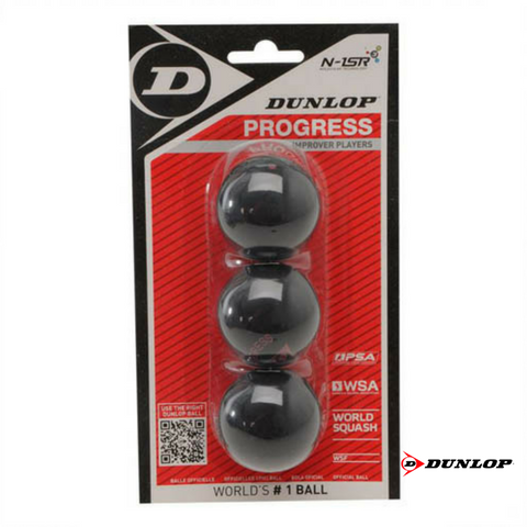 Dunlop Progress 3 BBL- 3 Blister Pk Squash Balls