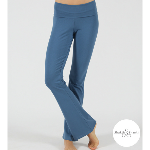 Shakti Shanti Yogawear -  Wide Band Bootleg Pants Regular Length (Horizon Blue)
