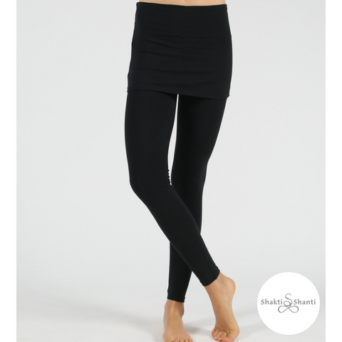 Shakti Shanti Yogawear -  Skirt Leggings Extra Length (Black)