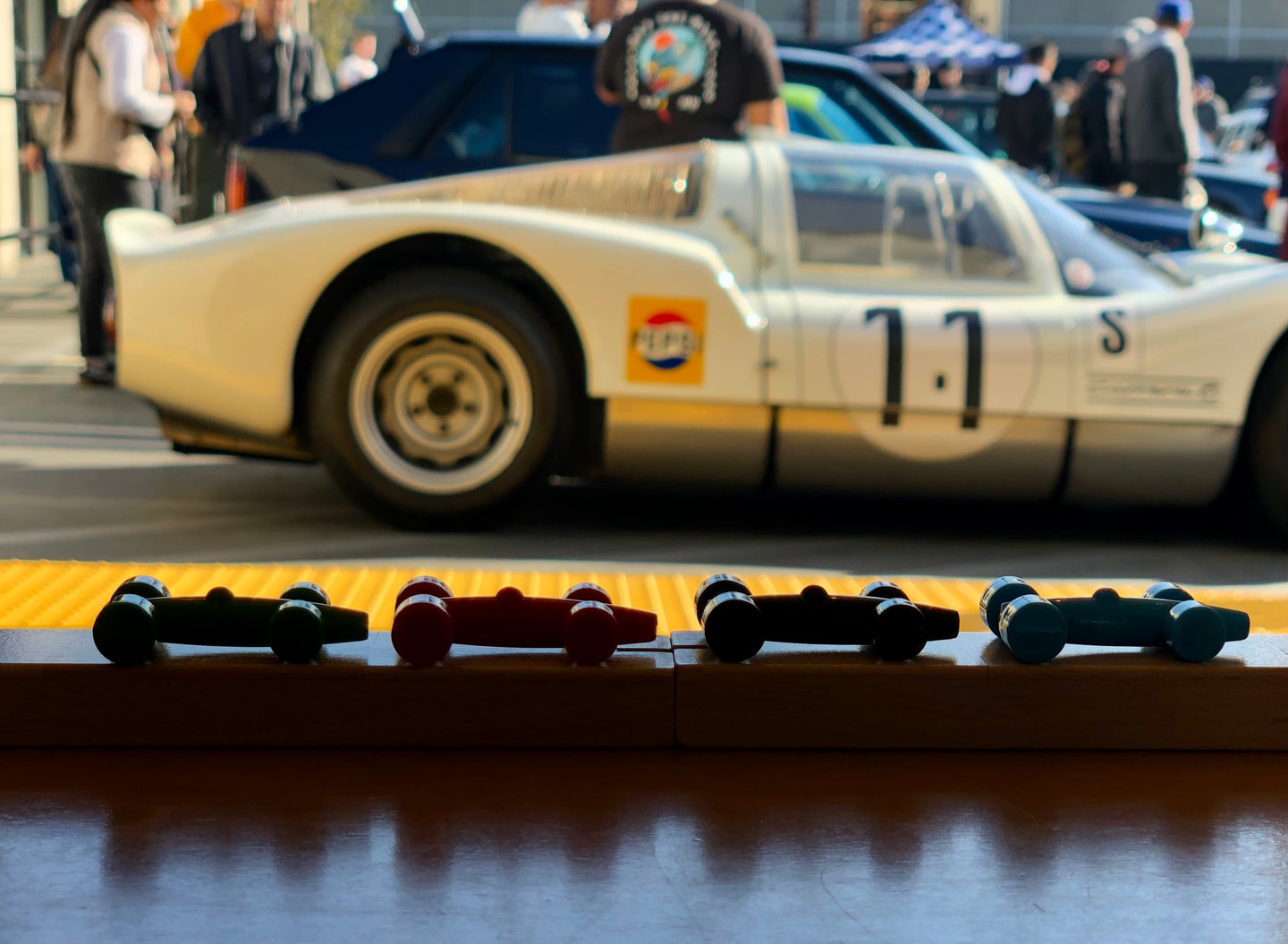 the LACORSA Grand Prix Board Game is fun at Cars and Coffee events