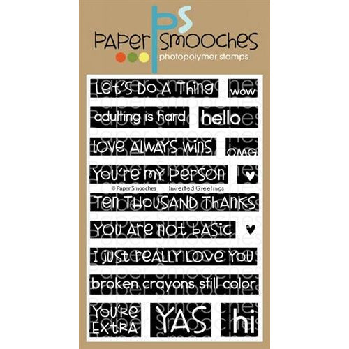 Paper Smooches - Inverted Greetings Stamp Set - LadyBugCrafts