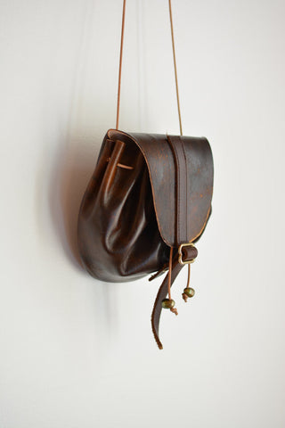 Patina Dream drawstring leather pouch