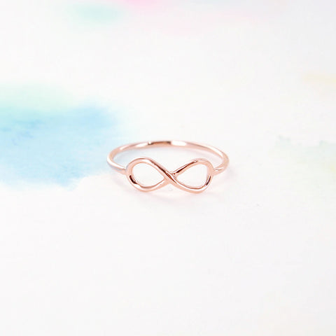 Simple Tiny Pink Rose Gold Infinity Band Ring - RecocoNYC - 1