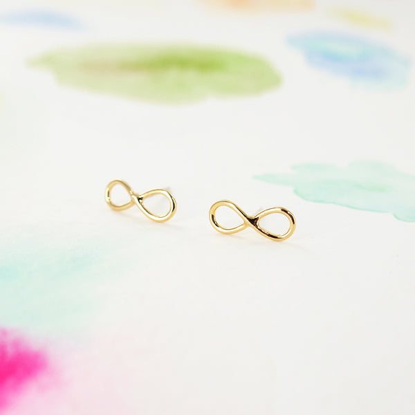Simple Clean Tiny Infinity Studs Earrings in Gold - RecocoNYC - 1