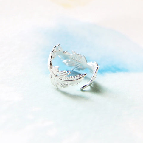 Delicate Adjustable Wrap Matte Silver Leaf Feather Ring - RecocoNYC - 1