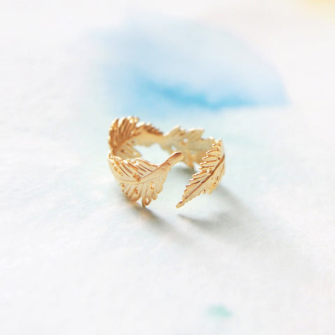 Delicate Adjustable Wrap Matte Gold Leaf Feather Ring - RecocoNYC - 1