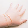 Simple Delicate Sideways Gold Cross Bracelet - RecocoNYC - 4