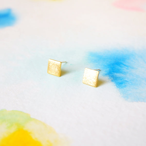 Simple Clean Brushed Gold Square / Rhombus Stud Earrings - RecocoNYC - 1