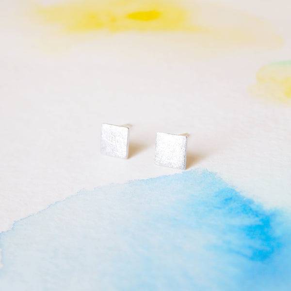 Simple Clean Brushed Silver Square / Rhombus Stud Earrings - RecocoNYC - 1