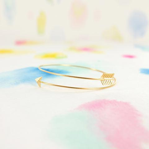 Thin Delicate Gold Arrow Wire Wrap Bangle Bracelet - RecocoNYC - 1