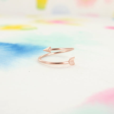 Thin Arrow Adjustable Pink Rose Gold Ring - RecocoNYC - 1