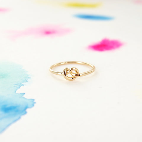 Simple Tiny Infinity Knot Ring in Gold - RecocoNYC - 1