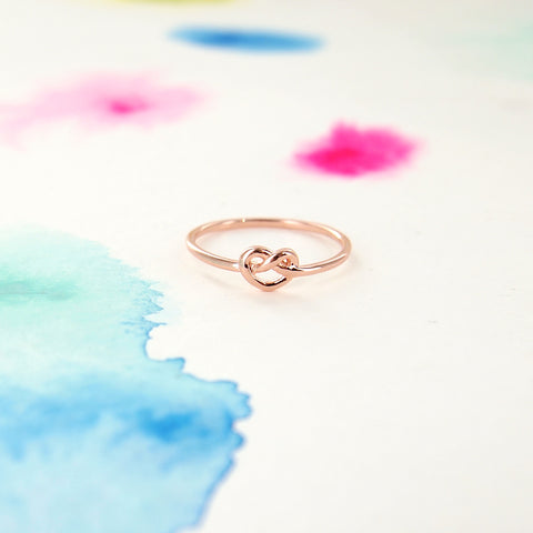 Simple Tiny Infinity Knot Ring in Rose Gold - RecocoNYC - 1
