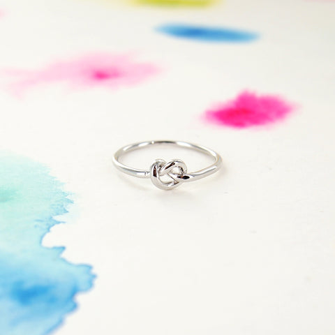 Simple Tiny Infinity Knot Ring in Silver - RecocoNYC - 1