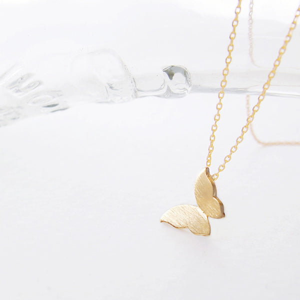 Simple Gold Butterfly Pendant Necklace - RecocoNYC - 1