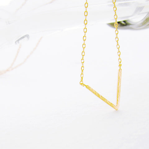 Brushed Gold Chevron V Triangle Charm Necklace - RecocoNYC - 1