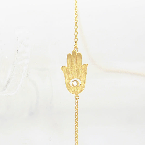 Brushed Gold Hamsa Evil Eye Charm Necklace w Crystal - RecocoNYC - 1
