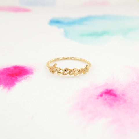 Simple Brushed Gold DREAM Letter Twisted Band Ring - RecocoNYC - 1