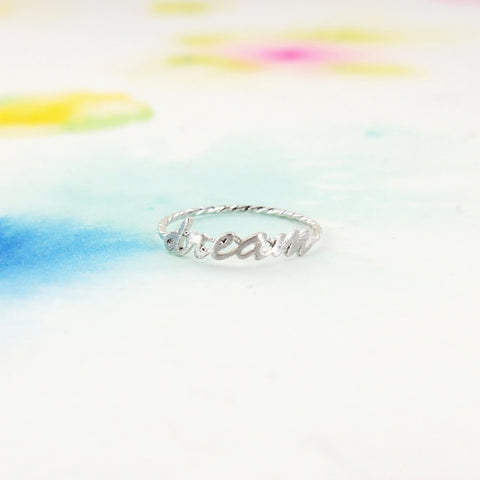 Simple Brushed Silver DREAM Letter Twisted Band Ring - RecocoNYC - 1