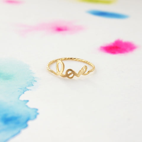 Simple Tiny Gold LOVE Script Letter Ring - RecocoNYC - 1