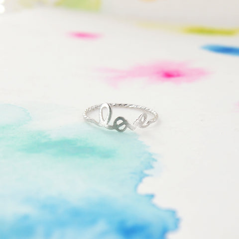 Simple Brushed Silver LOVE Script Letter Ring - RecocoNYC - 1