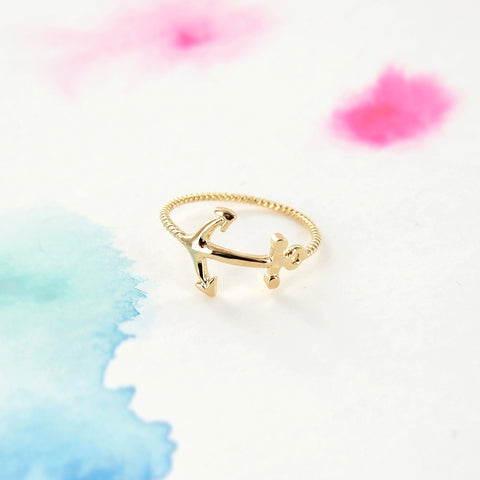 Delicate Ship Boat Navy Gold Anchor Ring - RecocoNYC - 1