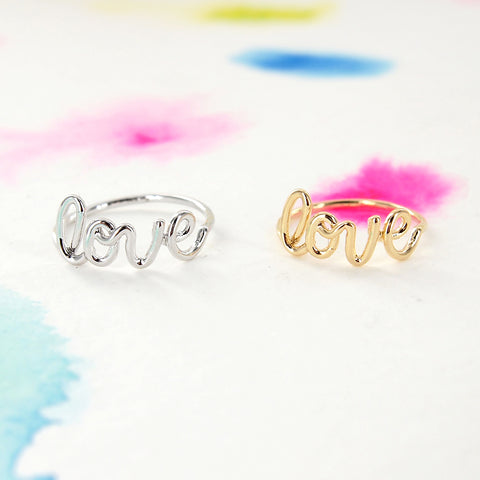 Simple Silver / Gold LOVE Script Wire Letter Ring - RecocoNYC - 1