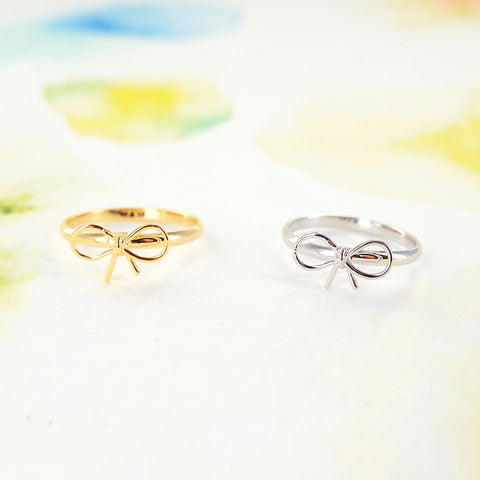 Cute Ribbon Bow Adjustable Rings in Gold / Silver - RecocoNYC - 1