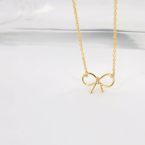 Delicate Thin Gold Knot Bow Ribbon Necklace - RecocoNYC - 1