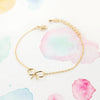 Tiny Small Cute Gold Knot Ribbon Bow Bracelet - RecocoNYC - 2