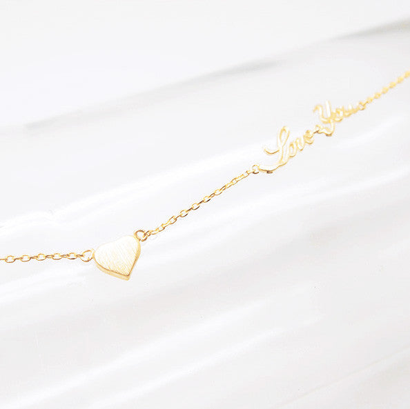 Petite Gold Heart and Love Letter Necklace - RecocoNYC - 1