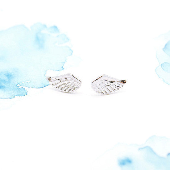 Silver Feather Angel Wings Post Earrings - RecocoNYC - 1