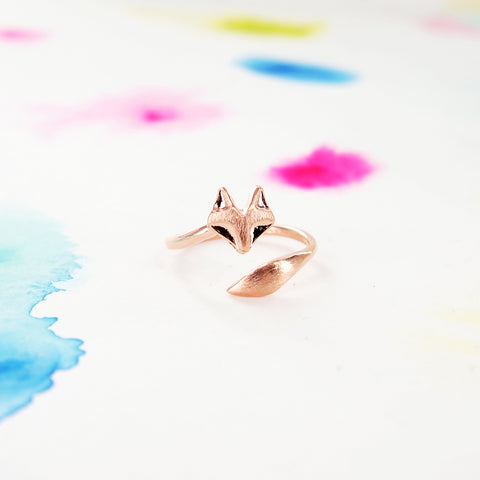 Adjustable Pink Rose Gold Fox Ring - RecocoNYC - 1