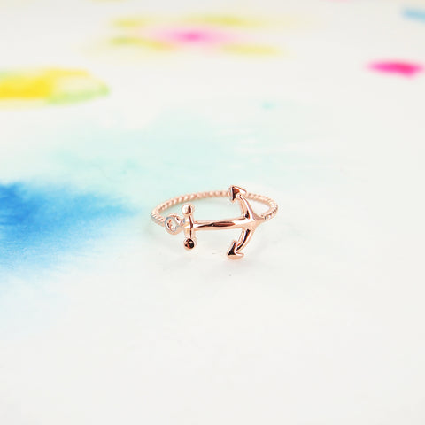 Delicate Pink Rose Gold Anchor Ring - RecocoNYC - 1