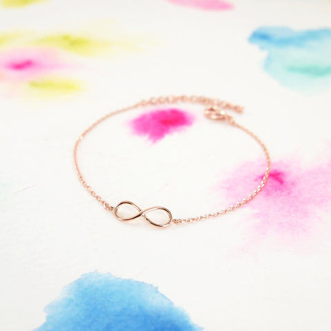 Pink Rose Gold Plated Delicate Tiny Infinity Bracelet - RecocoNYC - 1
