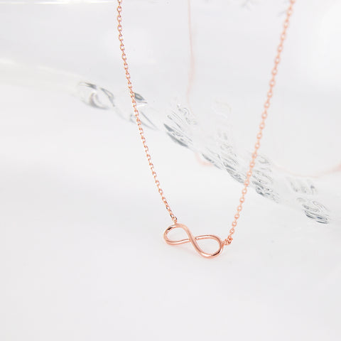 Simple Pink Rose Gold Infinity Necklace - RecocoNYC - 1