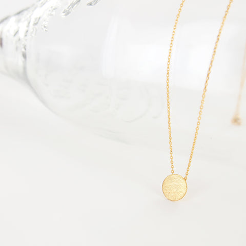Simple Clean Circle Disc Necklace in Brushed Gold - RecocoNYC - 1