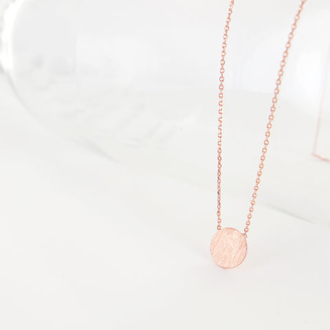 Simple Clean Circle Disc Necklace in Brushed Pink Rose Gold - RecocoNYC - 1